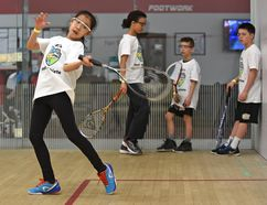 Hailey Diep, above, in the 9-10 age category, competes on the squash court in YEG's Best Athlete last Thursday. She and other children were graded on their skill level in various sports at the Royal Glenora Club. Ed Kaiser, Postmedia Network