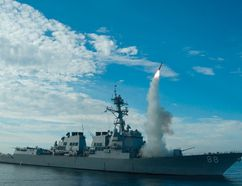 In this image obtained from the US Navy, the guided-missile destroyer USS Preble conducts an operational tomahawk missile launch while underway in a training area off the coast of California, on September 29, 2010. US President Donald Trump ordered a massive military strike against a Syria on April 6, 2017, in retaliation for a chemical weapons attack they blame on President Bashar al-Assad. A US official said 59 precision guided missiles hit Shayrat Airfield in Syria, where Washington believes Tuesday's deadly attack was launched. (AFP PHOTO / US NAVY / Mass Communication Specialist 1st Class Woody Paschall)