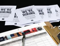 In this Tuesday, Oct. 6, 2015, file photo, job applications and information for the Gap Factory Store sit on a table during a job fair at Dolphin Mall in Miami. (AP Photo/Wilfredo Lee, File)