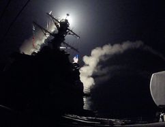 In this image released by the U.S. Navy, the guided-missile destroyer USS Porter conducts strike operations while in the Mediterranean Sea, April 7, 2017. (FORD WILLIAMS/Getty Images)