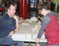 Jerome Linnell worked the Melfort Baseball table at spring Citywide Registration at the Northern Lights Palace on Wednesday, April 5.