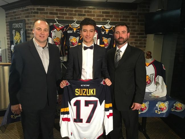 The Barrie Colts introduced forward Ryan Suzuki as the first-overall pick in this weekend's Ontario Hockey League Priority Selection on Friday. From left are Colts head coach Dale Hawerchuk, Suzuki and Colts general manager Jason Ford (Barrie Colts photo)
