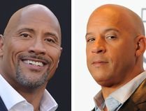 These two file photos show actor Dwayne Johnson (L) during the Warner Bros premiere of 'Central Intelligence' in Westwood, California, on June 10, 2016; and actor Vin Diesel (R) in the press room during the People's Choice Awards 2016 at Microsoft Theater in Los Angeles, California, on January 6, 2016. (ANGELA WEISS,CHRIS DELMAS/AFP/Getty Images)