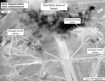 This satellite photo courtesy of the Department of Defense shows a battle damage assessment image of Shayrat Airfield, Syria, following US Tomahawk Land Attack Missile strikes on April 7, 2017 from the USS Ross (DDG 71) and USS Porter (DDG 78), Arleigh Burke-classguided-missile destroyers. The United States fired Tomahawk missiles into Syria in retaliation for the regime of Bashar Assad using nerve agents to attack his own people. (AFP PHOTO / DoD / Handout)