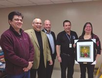 Photo supplied Ogimaa Duke Peltier, Michael McGregor, Dave Rama, Roger Beaudin and Mary Jo Wabano attended the EMR 'Go Live' launch event in Wikwemikong on March 7. The launch was the result of extensive planning and vision to achieve 'optimal health care' in all 14 First Nations on Manitoulin Island and the North Shore region.