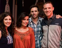 Corunna's Jeff Stout was the associate producer of the romantic comedy A Date with Miss Fortune, which will be screened at Sarnia Public Library Theatre on April 29th. From left to right: Jeannette Sousa (lead actress, producer), Nelly Furtado (actress), Ryan Scott (lead actor, producer) and Stout (associate producer). Handout/Sarnia This Week