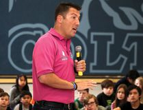 PAUL KRAJEWSKI HIGH RIVER TIMES/POSTMEDIA NETWORK. Tad Milmine, anti-bullying advocate, speaks to students at Ècole Senator Riley Middle School on March 25 in High River, Alta., as part of the Bullying Ends Here talks he performs around the world.