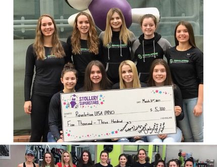 The Peace River U15 Girl's Volleyball team poses for a photo with a cheque for $5300 the team raised through its Spin-a-Thon for Stollery Children's Hospital in Edmonton on Friday March 31.
