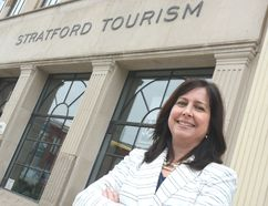 Executive director Kristin Sainsbury is shown outside the Stratford Tourism Alliance office in this file photo. Sainsbury will be leaving the alliance at the end of June to join her husband at their family-owned real estate office. (Scott Wishart/Beacon Herald/Postmedia Network)