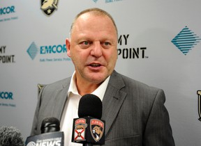 In this Oct. 8, 2016, file photo, Florida Panthers coach Gerard Gallant talks after an NHL preseason hockey game, in West Point, N.Y. (AP Photo/Hans Pennink, File)