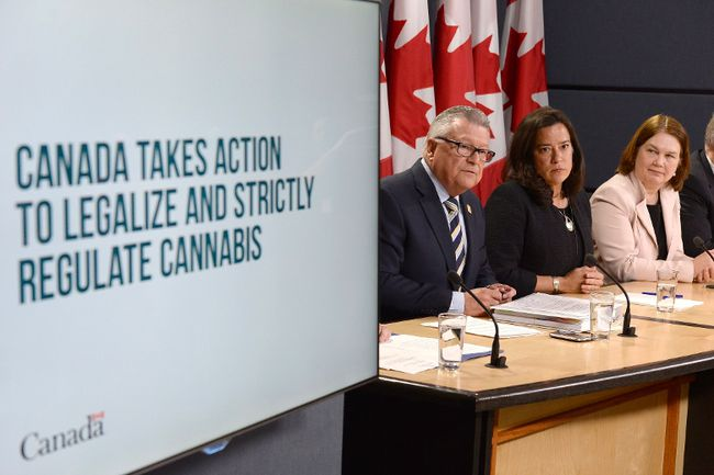 Minister of Public Safety and Emergency Preparedness Ralph Goodale, left to right, Justice Minister and Attorney General of Canada Jody Wilson-Raybould, and Health Minister Jane Philpott announce changes regarding the legalization of marijuana during a news conference in Ottawa, Thursday, April 13, 2017. THE CANADIAN PRESS/Adrian Wyld