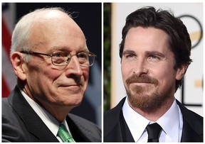 In this combination photo, former Vice President Dick Cheney, left, appears at the Conservative Political Action Conference (CPAC) in Washington, on Feb. 10, 2011, and actor Christian Bale appears at the 73rd annual Golden Globe Awards in Beverly Hills, Calif. Bale has confirmed that he will play Cheney in Adam McKay's planned biopic of the former vice president. (AP Photo/Alex Brandon, left, and Jordan Strauss, Files)