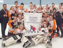 Kincardine Montgomery Ford midget girls claimed bronze at the recent OWHA Provincial Championships. Back L-R: Don Martyn, Brad Humphrey, Taylor Humphrey, Rainor Kuz, Callie Marty, Lilly Freiburger, Alice Thorpe, Madison McBride, Abbey McCormick, Payton McCormick, Laura Fohkens, Mary Lynn McCormick, Steve Dales. Middle: Hailey Woods, Morgan Murray, Aleya Murray, Kailee Hewitt, Emma Twolan, Carrie Charette. Front: Sophia Tomaini and Cassidy Priestap. (Shared photo)