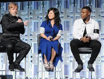 """Mark Hamill, Kelly Marie Tran, John Boyega and Daisy Ridley attend the """"Star Wars: The Last Jedi"""" panel during the 2017 Star Wars Celebration at Orange County Convention Center on April 14, 2017 in Orlando, Fla. (Gerardo Mora/Getty Images for Disney)"""