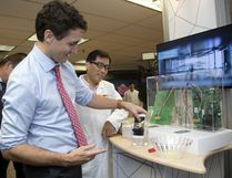 Prime Minister Justin Trudeau is pictured during a tour of the 3M plant in London, Ont., on April 5, 2017. (Mike Hensen/The London Free Press/Postmedia Network)