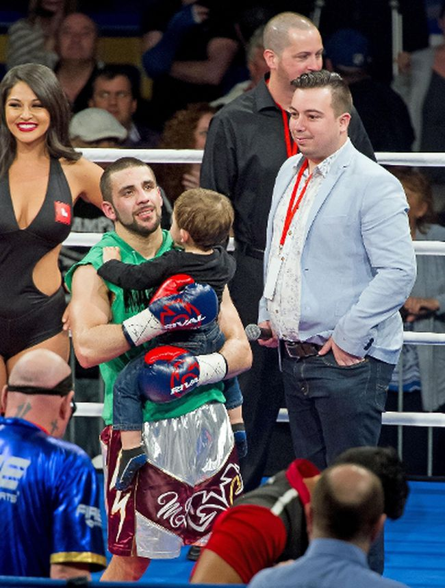 Tony's son, Miguel, joined dad in the ring after the fight. Robert Lefebvre/Special to the Cornwall Standard-Freeholder