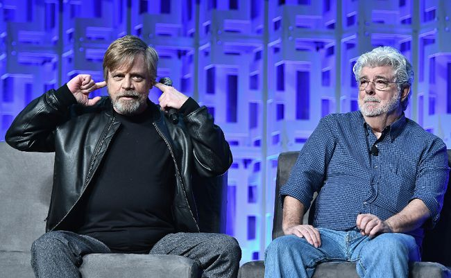 Mark Hamill and George Lucas attend the Star Wars Celebration Day 1 on April 13, 2017 in Orlando, Florida. (Photo by Gustavo Caballero/Getty Images)