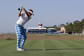 Ian Poulter hits a tee shot on the 18th hole during the final round of the 2017 RBC Heritage at Harbour Town Golf Links on April 16, 2017, in Hilton Head Island, S.C. (Streeter Lecka/Getty Images)