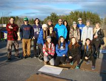 """Photo by Patricia Drohan/For The Mid-North Monitor Ready for the """"Sleep Out Challenge"""" are Samuel Gervais, Jenna Bourcier, Christen Ramsay, Payton Gagnon, Mackenzie Hobbs, Veronica Lacasse, Lennan Lacasse, Sam Prevost, Renee Desbiens, Lauren Laginski, Emilie Bourguignon, (teachers) Danielle Paquette-Raymond, Sabrina Vallieres, Stephen Montgomery, principal Daniel Dalcourt. (Makenzie Meloche and Melissa Morin not in the picture)."""