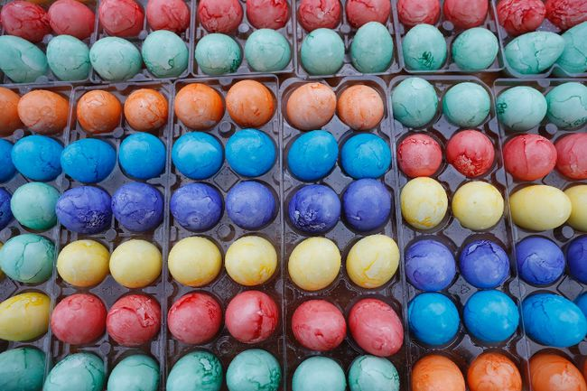 Coloured Easter eggs are ready to be used during the White House Easter Egg Roll on the South Lawn of the White House in Washington, Monday, April, 17, 2017. President Donald Trump and first lady Melania Trump are set to host the official annual Easter egg roll at the White House. (AP Photo/Carolyn Kaster)