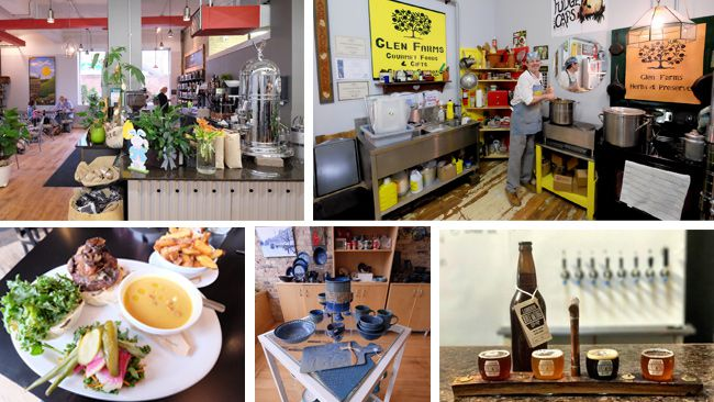 Fire Roasted Coffee is a bright and cheerful spot in the London Food Incubator building. David Glen makes old-fashioned marmalades and other tasty treats at the Glen Farms shop at the London Food Incubator. The water buffalo burger at The Root Cellar comes from a nearby Amish-run farm. The London Clay Art Centre sells lovely, affordable pottery and other goods made on the premises. London Brewing Co. is on organic, malt-forward ales versus overly hoppy IPA's. (JIM BYERS PHOTOS)