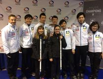 A local curler with the Cold Lake Curling Club, Rayel Piquette (front row right) recently escorted team Japan onto the ice. Back Row (L-R): J.D. Lind (National Coach); Yosuke Morozumi (Skip); Tetsuro Shimizi (3rd); Tsuyoshi Yamaguchi (2nd); Kosuke Morozumi (Lead); Kohsuke Hirata (Alternate); Hatomi Nagaoka (team Coach) Front Row (L-R): Ashley, Leduc Curling Club.