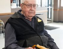 Hector Alberic Borle celebrated his 100th birthday at the Royal Canadian Legion Branch 11 on Sunday, April 16, 2017, in Vermilion, Alta. The celebration came the day before he turned 100, since it fell on Easter Monday, April 15. Taylor Hermiston/Vermilion Standard/Postmedia Network.