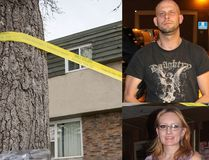 Clockwise from upper right: Allan Shyback in police custody, a family photo of Lisa Mitchell, and flowers outside Mitchell's duplex in the Ogden area of Calgary. POSTMEDIA ARCHIVES