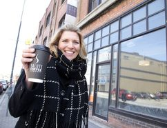 Tania Renelli, owner of Salute Coffee Company, stands outside what will soon be her newest location at 73 Elm Street in downtown Sudbury. The new shop will open at the beginning of May. (Gino Donato/Sudbury Star)