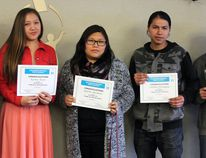 Wetaskiwin Regional Public Schools board chair Barb Johnson presented Katrina Boysis (Pigeon Lake Regional), Reainha Mackinaw (Buck Mountain Central), Littlebear Morningstar (Wetaskiwin Composite High School) and Elmer Lee (Wetaskiwin Composite High School) with Celebrating Excellence certificates after hearing about how these students' leadership skills and inspiration earned them the Indigenous Shining Student Award at their schools. Katrina Boysis (Pigeon Lake Regional School) also received an Indigenous Shining Student award but was unable to attend the board meeting presentation April 11.