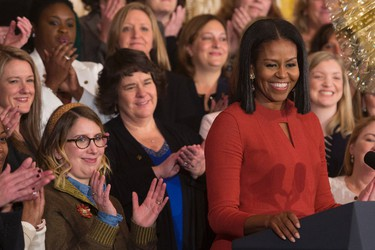 Michelle Obama gives her final remarks as US First Lady at the 2017 School Counselor of the Year event at the White House in Washington DC, January 5, 2017.  / AFP / CHRIS KLEPONIS        (Photo credit should read CHRIS KLEPONIS/AFP/Getty Images)