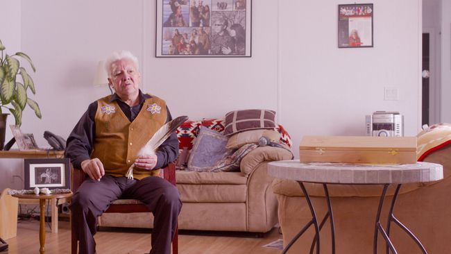 FILM STILL SUPPLIED  Gilman Cardinal sits for an interview at his home during filming for Becoming Edmonton.