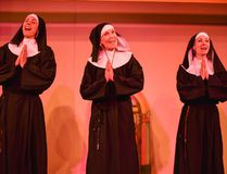 From left, Marianne Gagne Simard as Sister Hubert, Deb Nettesheim as Mother Superior and Candise McMullin as Sister Robert Ann perform a song during a rehearsal for 'Nunsense', a musical comedy being presented by the Pine Tree Players at the Canmore Miners' Union Hall. (Daniel Katz/ Crag & Canyon/ Postmedia)