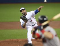 Francisco Liriano of the Toronto Blue Jays delivers a pitch in the first inning during MLB action against the Boston Red Sox at Rogers Centre on April 19, 2017. (Tom Szczerbowski/Getty Images)