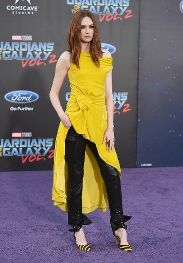 """Karen Gillan arrives at the world premiere of """"Guardians of the Galaxy Vol. 2"""" at the Dolby Theatre on Wednesday, April 19, 2017, in Los Angeles. (Photo by Jordan Strauss/Invision/AP)"""