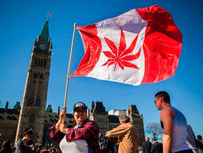This file photo taken on April 20, 2016 shows a woman waving a flag with a marijuana leaf on it next to a group gathered to celebrate National Marijuana Day on Parliament Hill in Ottawa. CHRIS ROUSSAKIS/AFP/Getty Images
