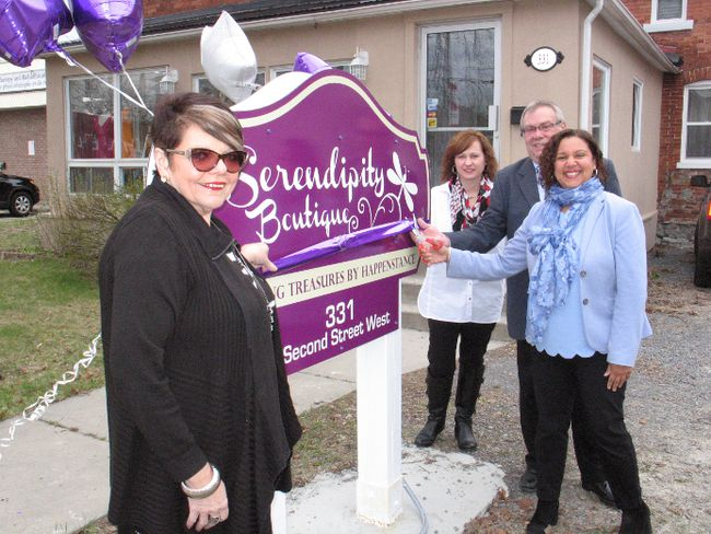 The official opening of the Serendipity boutique, with (from left) Debbie Fortier (Baldwin House executive director), Petey Cameron (staff co-ordinator), Cornwall Mayor Leslie O'Shaughnessy and Bernadette Clement (chair of the board for Baldwin House). Todd Hambleton/Cornwall Standard-Freeholder
