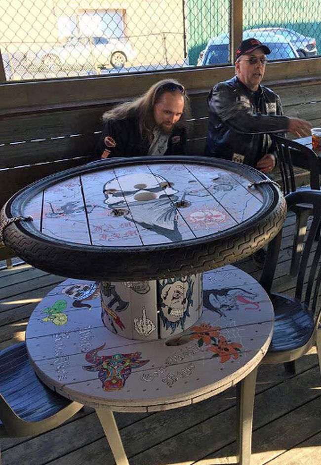 The Burn Out Boys motorcycle family is raffling off this table in the hopes of sending two kids with juvenile diabetes to camp next summer.