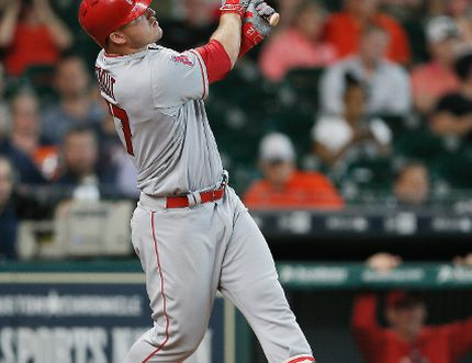 Mike Trout of the Los Angeles Angels of Anaheim hits a home run in the ninth inning against the Houston Astros at Minute Maid Park on April 20, 2017 in Houston, Texas. (BOB LEVEY/Getty Images)