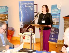 BRUCE BELL/THE INTELLIGENCER Prince Edward County Chamber of Tourism and Commerce executive director Emily Cowan tells members at the annual general meeting in Picton this week the organization will be dropping 'Tourism' from its name.