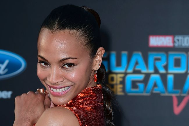 """Actress Zoe Saldana arrives for the world premiere of the film """"Guardians of the Galaxy Vol. 2"""" in Hollywood, California on April 19, 2017. FREDERIC J. BROWN/AFP/Getty Images"""