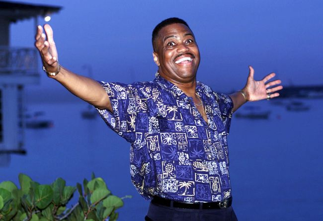 """In this Aug. 18, 1999 file photo, Cuba Gooding Sr. lead vocalist of the legendary r&b/pop group The Main Ingredient, and father of Oscar winning actor Cuba Gooding Jr., gestures during an interview in Bridgetown, Barbados. Gooding Sr., who sang the 1972 hit """"Everybody Plays the Fool,"""" has died. Authorities say the 72-year-old singer was found dead due an unknown cause in a car Thursday, April 20, 2017, in the Woodland Hills section of Los Angeles. (AP Photo/Chris Brandis, File)"""