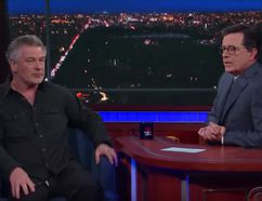 "Alec Baldwin, left, on ""The Late Show with Stephen Colbert."" (screengrab)"