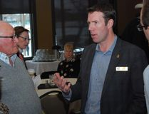 PAUL KRAJEWSKI HIGH RIVER TIMES/POSTMEDIA NETWORK. John Barlow, Foothills MP, speaks with party supporters after the Foothills Conservative Electoral District Association's annual general meeting at the Highwood Golf and Country Club on March 11, 2017, in High River, Alta.