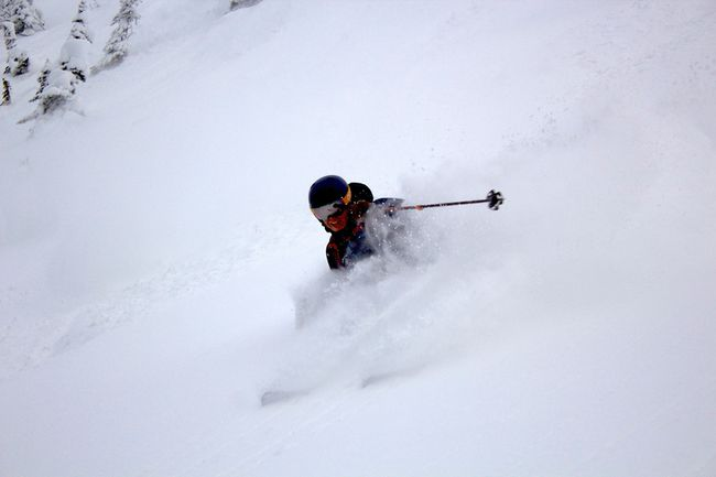 Montana State University skier and Airdrie native Jeff Bell tackles some steep terrain.