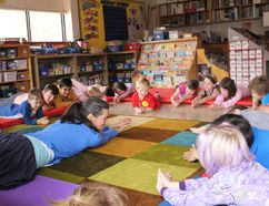 Yoga instructor Meredith Brown helped kids at Shakespeare Public School match actions to their favourite animals, like snakes. The yoga session was part of the school's Snuggle Up and Read Day, an annual tradition to promote learning and literacy. (MEGAN STACEY/The Beacon Herald)