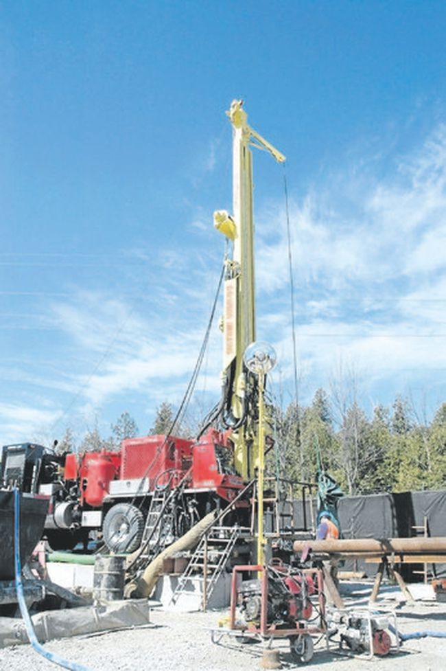A drill rig extracts core samples from the depths of a proposed 680-metre deep geologic repository at the Bruce nuclear site, near Goderich. Many questions, such as the project's emissions and ecological risks, remain unanswered. (Postmedia file photo)