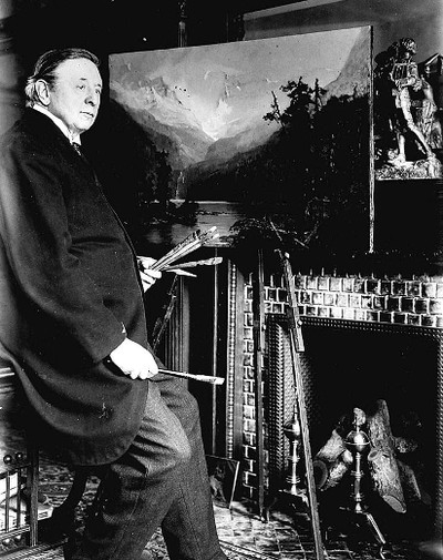 Artist Frederick Bell-Smith (1846–1923) at work, presumably in his Jarvis St. residence, where he resided for 35 years.