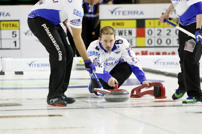 Reid Carruthers from the West St. Paul Curling Club made the playoffs at the Grand Slam of curling's WestJet Players's Championship in Toronto. (Brook Jones/Selkirk Journal/Postmedia Network)
