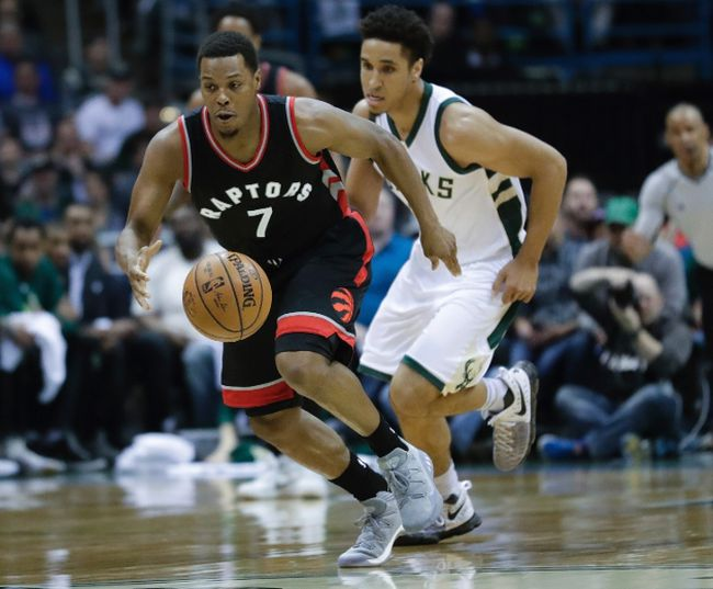 Raptors' Kyle Lowry steals the ball from Bucks' Malcolm Brogdon during the first half of Game 4 of an NBA first-round playoff series in Milwaukee on Saturday, April 22, 2017. (Morry Gash/AP Photo)